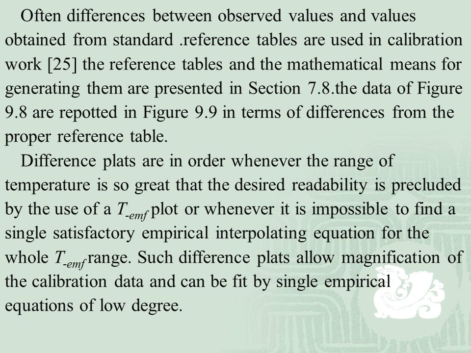 Often differences between observed values and values obtained from standard .reference tables are used in calibration work [25] the reference tables and the mathematical means for generating them are presented in Section 7.8.the data of Figure 9.8 are repotted in Figure 9.9 in terms of differences from the proper reference table.